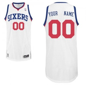 Philadelphia 76ers Authentic Personnalisé Home Maillot d'équipe de NBA - Blanc pour Enfants