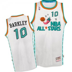 Maillot NBA Blanc Charles Barkley #10 Phoenix Suns Throwback 1996 All Star Authentic Homme Mitchell and Ness