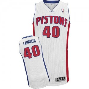 Maillot Adidas Blanc Home Authentic Detroit Pistons - Bill Laimbeer #40 - Homme
