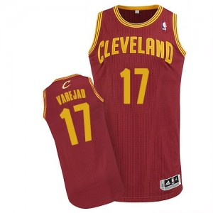 Maillot NBA Vin Rouge Anderson Varejao #17 Cleveland Cavaliers Road Authentic Homme Adidas