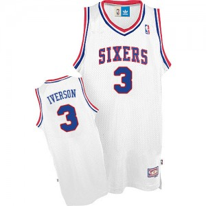 Maillot NBA Authentic Allen Iverson #3 Philadelphia 76ers Throwack Blanc - Homme
