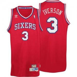 Philadelphia 76ers Allen Iverson #3 Throwack Swingman Maillot d'équipe de NBA - Rouge pour Homme