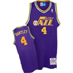 Maillot NBA Violet Adrian Dantley #4 Utah Jazz Throwback Authentic Homme Adidas