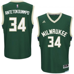 Maillot NBA Vert Giannis Antetokounmpo #34 Milwaukee Bucks Road Swingman Homme Adidas