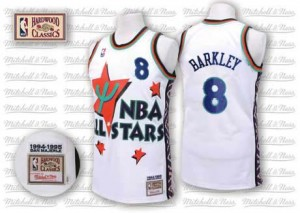 Phoenix Suns #8 Adidas Throwback 1995 All Star Blanc Authentic Maillot d'équipe de NBA Vente - Charles Barkley pour Homme