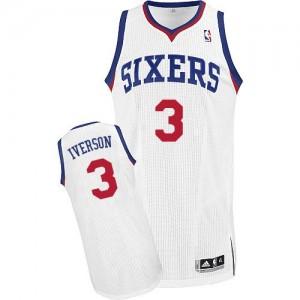 Philadelphia 76ers Allen Iverson #3 Home Authentic Maillot d'équipe de NBA - Blanc pour Homme