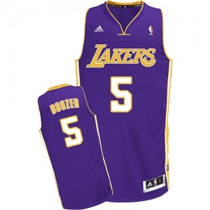 Maillot NBA Violet Carlos Boozer #5 Los Angeles Lakers Road Swingman Homme Adidas