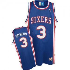 Maillot Adidas Bleu Throwack Authentic Philadelphia 76ers - Allen Iverson #3 - Homme