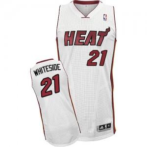 Maillot NBA Miami Heat #21 Hassan Whiteside Blanc Adidas Authentic Home - Homme