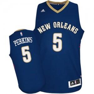 New Orleans Pelicans #5 Adidas Road Bleu marin Authentic Maillot d'équipe de NBA Expédition rapide - Kendrick Perkins pour Homme