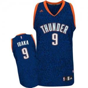 Maillot NBA Oklahoma City Thunder #9 Serge Ibaka Bleu Adidas Authentic Crazy Light - Homme