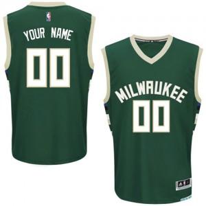 Milwaukee Bucks Authentic Personnalisé Road Maillot d'équipe de NBA - Vert pour Homme