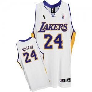 Los Angeles Lakers Kobe Bryant #24 Alternate Champions Patch Authentic Maillot d'équipe de NBA - Blanc pour Enfants