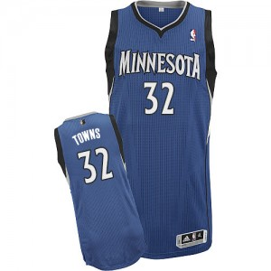 Maillot NBA Slate Blue Karl-Anthony Towns #32 Minnesota Timberwolves Road Authentic Homme Adidas
