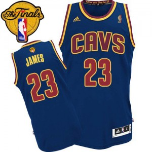 Maillot NBA Cleveland Cavaliers #23 LeBron James Bleu marin Adidas Authentic CavFanatic 2015 The Finals Patch - Femme