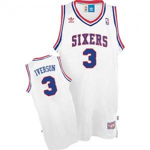 Maillot NBA Philadelphia 76ers #3 Allen Iverson Blanc Adidas Swingman Throwack - Homme