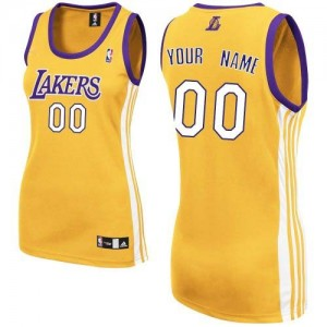 Maillot Adidas Or Home Los Angeles Lakers - Authentic Personnalisé - Femme