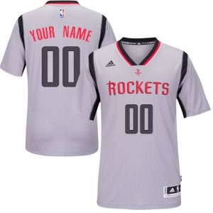 Maillot NBA Authentic Personnalisé Houston Rockets Alternate Gris - Homme