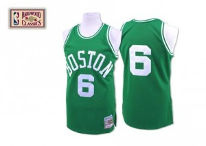 Maillot NBA Boston Celtics #6 Bill Russell Vert Mitchell and Ness Authentic Throwback - Homme