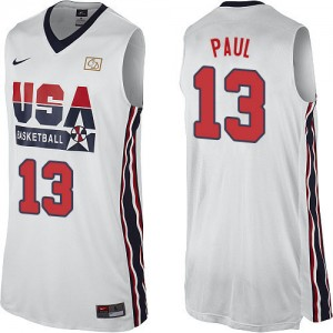 Team USA Nike Chris Paul #13 2012 Olympic Retro Authentic Maillot d'équipe de NBA - Blanc pour Homme