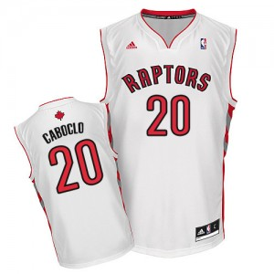 Maillot NBA Toronto Raptors #20 Bruno Caboclo Blanc Adidas Swingman Home - Homme