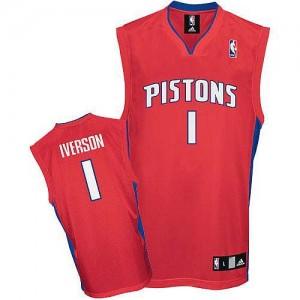 Detroit Pistons Allen Iverson #1 Authentic Maillot d'équipe de NBA - Rouge pour Homme
