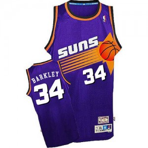 Phoenix Suns Mitchell and Ness Charles Barkley #34 Throwback Swingman Maillot d'équipe de NBA - Violet pour Homme