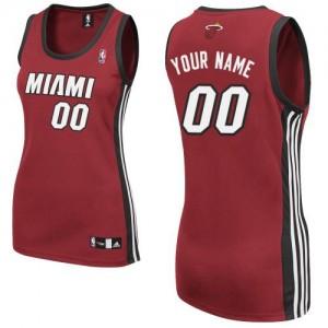 Miami Heat Authentic Personnalisé Alternate Maillot d'équipe de NBA - Rouge pour Femme