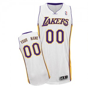 Maillot NBA Los Angeles Lakers Personnalisé Authentic Blanc Adidas Alternate - Homme