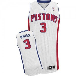Maillot NBA Authentic Ben Wallace #3 Detroit Pistons Home Blanc - Homme