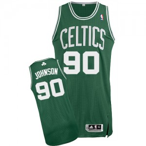Maillot NBA Boston Celtics #90 Amir Johnson Vert (No Blanc) Adidas Authentic Road - Homme