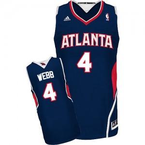 Atlanta Hawks Spud Webb #4 Road Swingman Maillot d'équipe de NBA - Bleu marin pour Homme