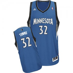 Maillot Adidas Slate Blue Road Swingman Minnesota Timberwolves - Karl-Anthony Towns #32 - Homme