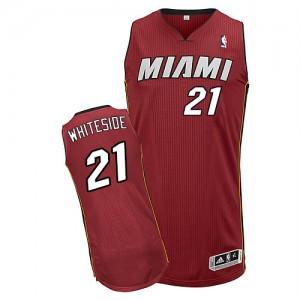 Miami Heat Hassan Whiteside #21 Alternate Authentic Maillot d'équipe de NBA - Rouge pour Homme