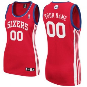 Maillot NBA Rouge Authentic Personnalisé Philadelphia 76ers Road Femme Adidas