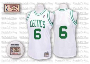 Boston Celtics #6 Mitchell and Ness Throwback Blanc Authentic Maillot d'équipe de NBA prix d'usine en ligne - Bill Russell pour Homme
