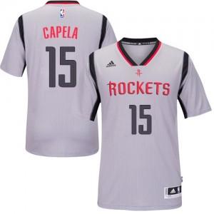 Houston Rockets #15 Adidas Alternate Gris Authentic Maillot d'équipe de NBA prix d'usine en ligne - Clint Capela pour Homme