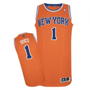 Maillot NBA New York Knicks #1 Alexey Shved Orange Adidas Authentic Alternate - Homme