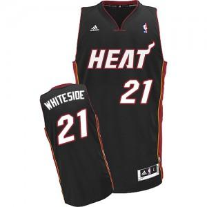 Maillot NBA Miami Heat #21 Hassan Whiteside Noir Adidas Swingman Road - Enfants