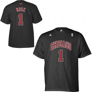 Tee-Shirt NBA Derrick Rose #1 Chicago Bulls Game Time Noir - Homme