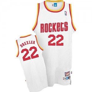 Maillot NBA Blanc Clyde Drexler #22 Houston Rockets Throwback Swingman Homme Mitchell and Ness