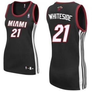 Maillot NBA Miami Heat #21 Hassan Whiteside Noir Adidas Authentic Road - Femme