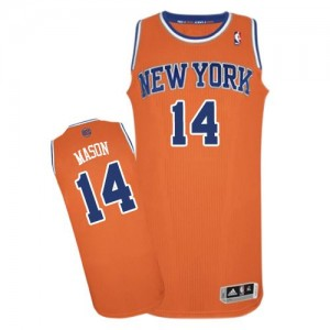 New York Knicks #14 Adidas Alternate Orange Authentic Maillot d'équipe de NBA pour pas cher - Anthony Mason pour Homme