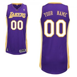Maillot NBA Los Angeles Lakers Personnalisé Authentic Violet Adidas Road - Homme