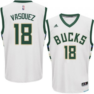 Milwaukee Bucks Greivis Vasquez #18 Home Authentic Maillot d'équipe de NBA - Blanc pour Homme