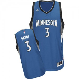 Maillot NBA Slate Blue Adreian Payne #3 Minnesota Timberwolves Road Swingman Homme Adidas