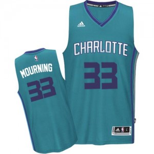 Maillot NBA Bleu clair Alonzo Mourning #33 Charlotte Hornets Road Authentic Homme Adidas
