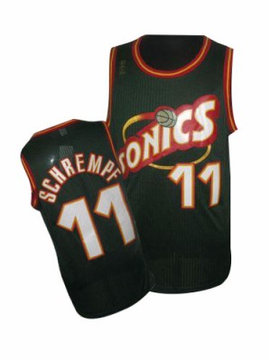Maillot NBA Vert Detlef Schrempf #11 Oklahoma City Thunder SuperSonics Throwback Authentic Homme Adidas