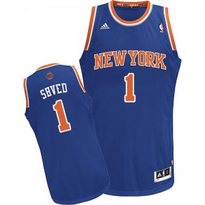 Maillot NBA New York Knicks #1 Alexey Shved Bleu royal Adidas Swingman Road - Homme
