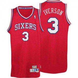 Maillot NBA Rouge Allen Iverson #3 Philadelphia 76ers Throwack Authentic Homme Adidas
